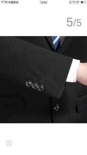 欧億伦西服套装 男商务休闲修身西装男款职业正装新郎结婚礼服黑色应聘 藏青色三扣 185 晒单图