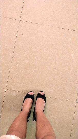 2019春夏新款粗跟高跟防水台鱼嘴凉鞋单鞋浅口职业女鞋高跟鞋 红色 39 晒单图