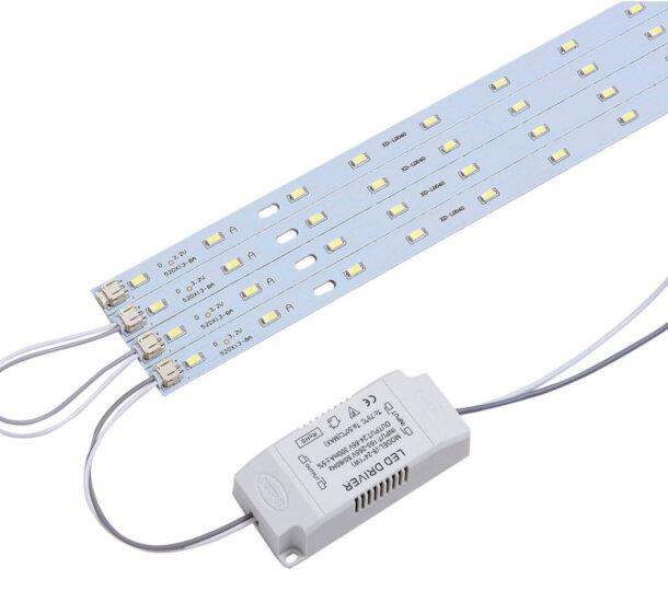 博勒宁LED灯板改造板吸顶灯改装灯板灯条长方形节能H灯管替换全套 36W-41cm长/6W*6条-暖光 晒单图