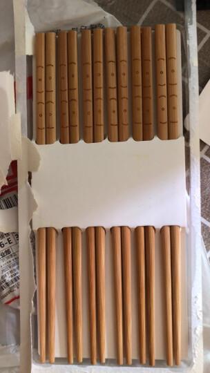 双枪(Suncha)筷子 10双装激光雕刻原竹筷子家用筷子套装 KZ1015 晒单图