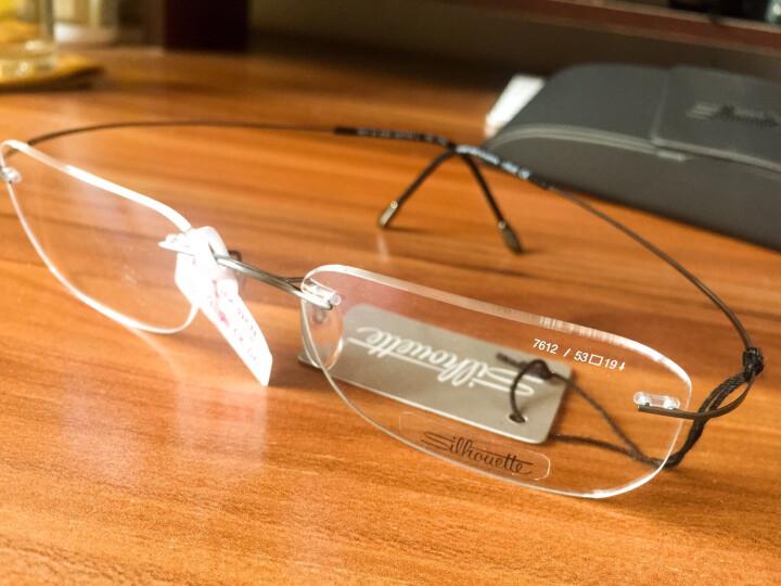Silhouette 诗乐 男款黑色无框光学眼镜架眼镜框 7612 61 6107 53MM 晒单图
