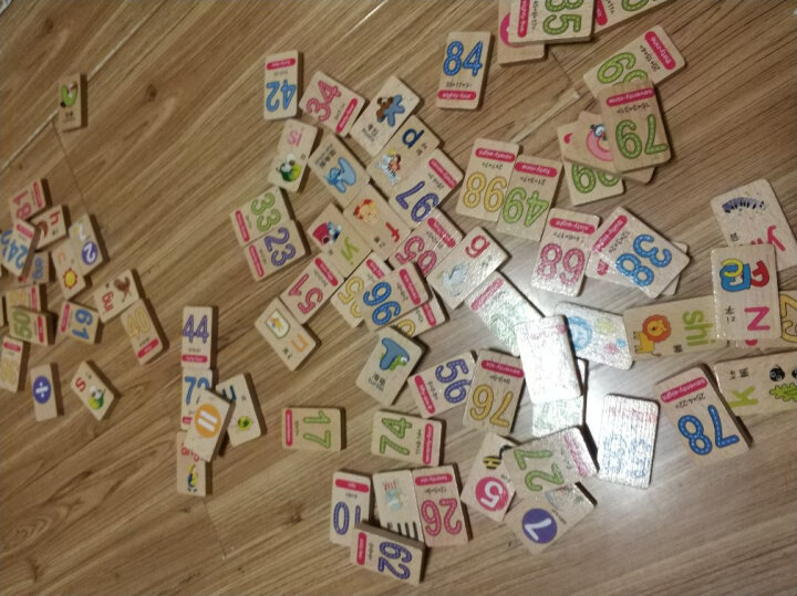 木贵婴100片双面榉木拼音数字字母多米诺骨牌儿童益智木制玩具 MGY00524 晒单图