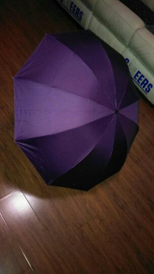 天堂伞 晴雨伞遮阳伞三折叠黑胶防晒防紫外线太阳伞加大双人经典商务伞 33188黑胶1#深藏青 晒单图