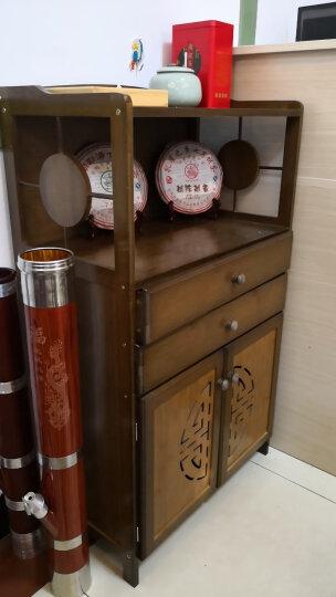 竹人坊 落地储物收纳柜子厨房碗柜多层柜餐厅边柜客厅带抽屉茶水柜带门厨房储藏柜客厅酒柜对开门橱柜 双抽储物柜(茶色) 晒单图