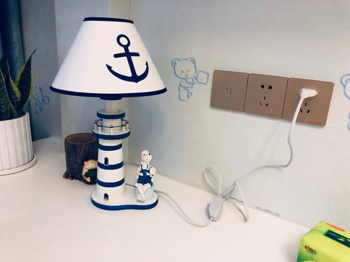 蔓森鑫 创意地中海实木制灯塔造型可调节亮度台灯家居卧室床头灯办公室书房学生桌面台灯装饰摆件 大号男孩款 晒单图
