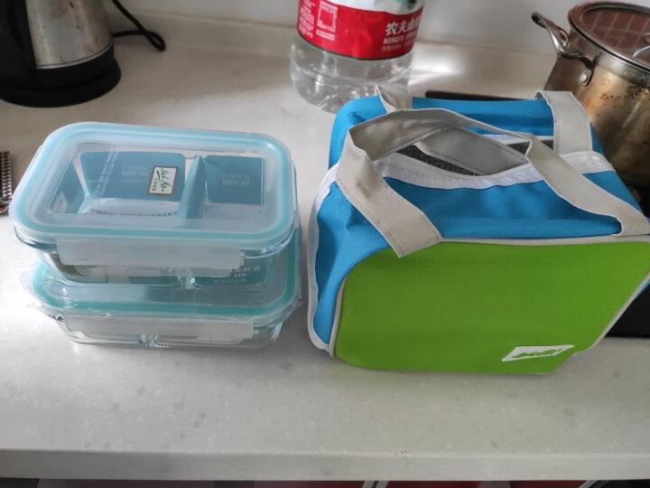 贝特阿斯 高硼硅耐热玻璃 饭盒 保鲜盒 玻璃饭盒 微波炉饭盒 饭盒自营(560+760ml) RLG2-07B送红色保温包 晒单图