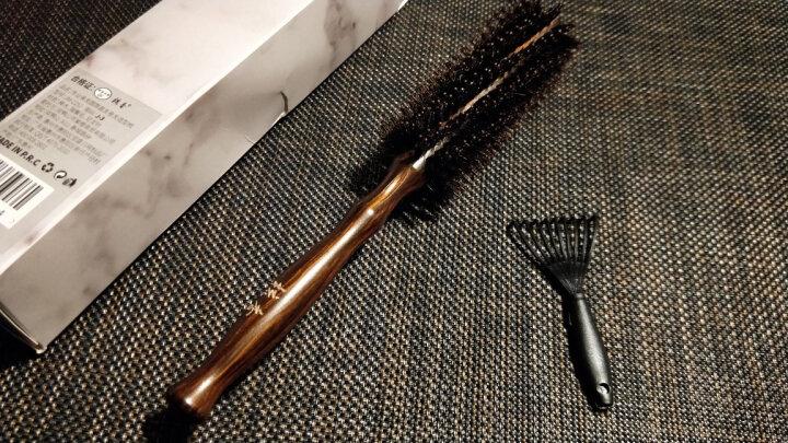 紫韵梳香 专业美发猪鬃毛梳子榉木梳柄圆筒直发卷发造型送女朋友生日礼物J-3 晒单图