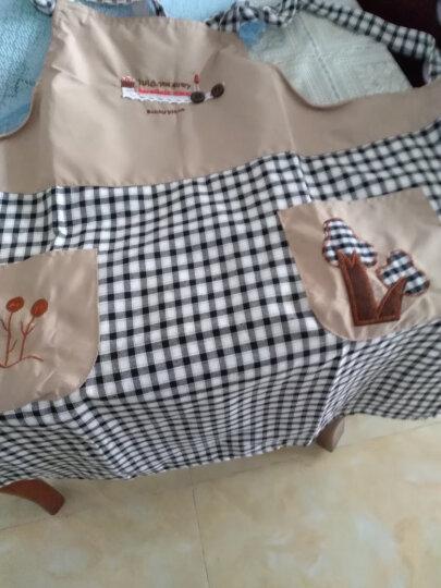 苏立得 韩版时尚可爱男女情侣围裙厨房做饭围腰防水防油成人罩衣 林心如同款 黑格子 晒单图