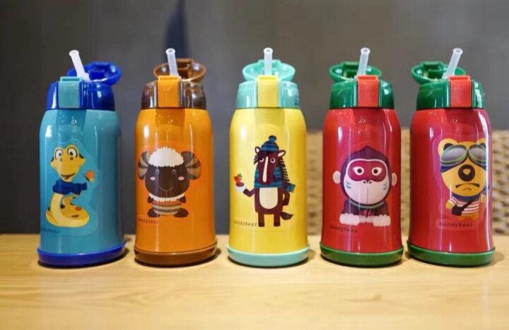 杯具熊(BEDDYBEAR)儿童保温杯带吸管儿童水杯316不锈钢保温儿童水壶630ml 3D浮雕-红色小猴 晒单图