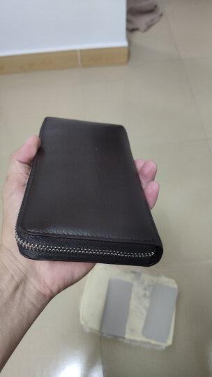 七匹狼男士手包 头层牛皮钱包多功能软皮商务男卡包手机包1A4964081-01 黑色 晒单图