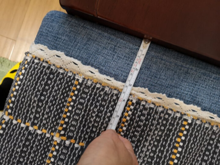 钿钿屋 棉线沙发垫 加厚坐垫棉麻沙发套 沙发巾 透气沙发罩 欧式蕾丝防滑四季简约全盖布 香格里拉红 定做75元每平方 晒单图