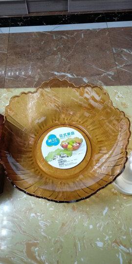 茶花简约花式果盘多用干果盘零食盘透明客厅水果盘 绿色 晒单图