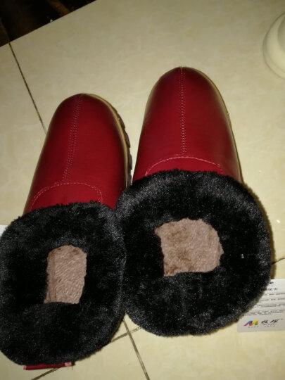 牧琛 冬季真皮保暖鞋 家居家室内包跟棉拖鞋 牛皮棉鞋男女牛筋厚底防滑MST217 女款-枣红 26适合37-38码 晒单图