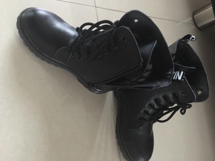 2019男童单靴女童鞋春夏靴子儿童马丁靴单靴军靴雪地靴中大童加绒 无标棉靴 35码内长22.5厘米 晒单图
