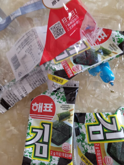 韩国进口 海牌海苔 香脆紫菜烤海苔 休闲零食儿童零食经典原味2g*32包 晒单图