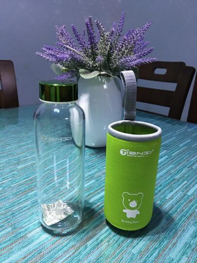 天喜玻璃杯水杯套装杯子男女带盖便携耐热加厚水壶 儿童学生可爱牛奶杯 绿色420ML 晒单图