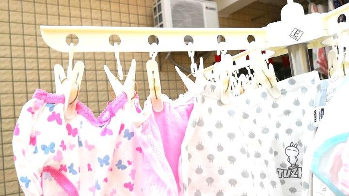 宝优妮 婴儿晾衣架落地折叠晒毛巾架宝宝尿布架多头晾衣夹象牙色 DQ0973 晒单图