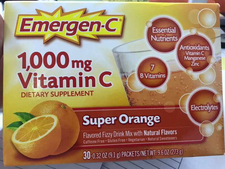 Emergen-C维生素c粉冲剂vc泡腾多种维生素成人儿童美白美容养颜美国进口 1盒热带水果味 晒单图