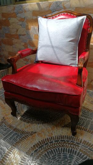 咪咖(MICOZY) 抱枕靠垫套油蜡皮高品质现代皮质沙发靠枕床头靠背汽车腰枕 办公室靠垫 YL-09 黑色 45*45cm(含芯) 晒单图