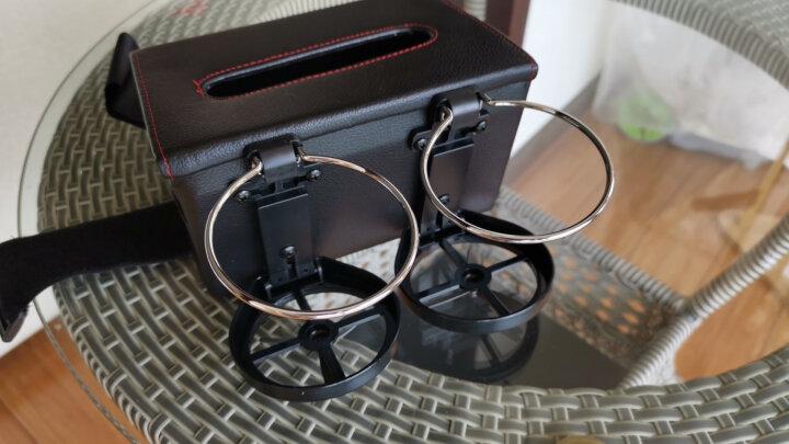 伴君 车载纸巾盒汽车餐巾纸盒防滑座式车内扶手箱车载抽纸盒车用水杯架 米色 晒单图