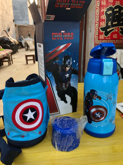 迪士尼(Disney)儿童保温杯带吸管男女学生水杯子304不锈钢水壶蓝色米奇600ml双盖刺绣杯套 晒单图