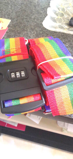 班哲尼 十字打包带 出国托运拉杆箱捆绑带扎带行李箱托运打包带密码锁旅行安全捆箱带 含行李牌 彩虹色 晒单图