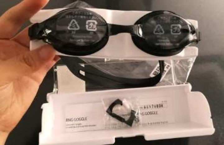 阿瑞娜arena泳镜 日本进口新款高清防雾大框游泳镜 专业舒适贴合防漏水游泳眼镜 男女通用护目镜9500N-SMK 黑 晒单图