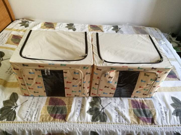 牛津布收纳箱大号整理箱储物箱棉被子衣物衣服百纳箱收纳盒布艺折叠玩具整理盒衣柜密封储存储蓄箱 米色小狗2个装 66L 晒单图