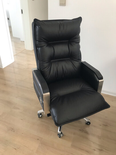 品仪 老板椅真皮 可躺办公椅子电脑椅家用转椅按摩大班椅座椅 智睿黑(头层牛皮+乳胶坐垫+震动按摩) 晒单图