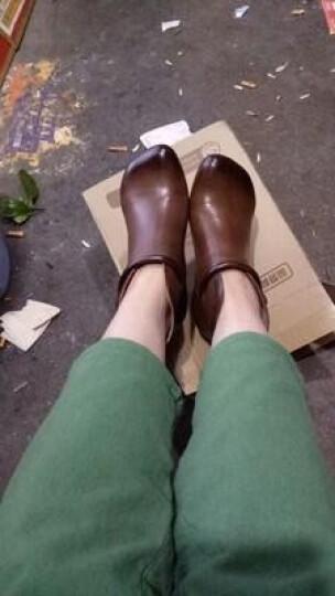 相伴秋冬新品女鞋 手工做旧擦色打蜡文艺复古真羊皮流苏短靴 咖色 36 晒单图