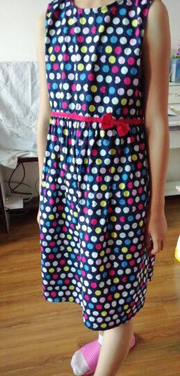 馨颂 女童纯棉连衣裙无袖清新公主裙儿童裙子 F027C 蓝绿 130 晒单图