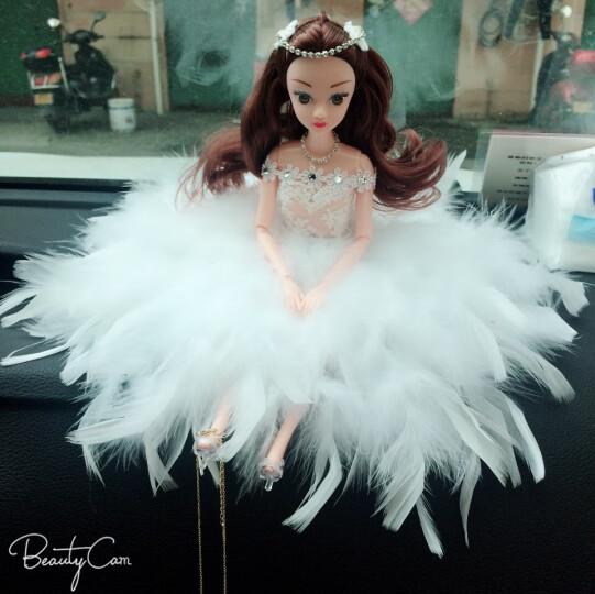 廷彪适用于婚纱娃娃汽车饰品创意摆件 可爱蕾丝车内摆件 芭比娃娃 手工镶钻内饰 白孔雀短发+蝴蝶 晒单图