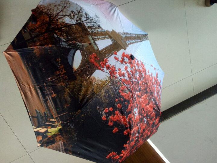 零时差全自动折叠晴雨伞黑胶防晒女士三折太阳伞创意油画伞 巴黎铁塔-黑胶款 晒单图