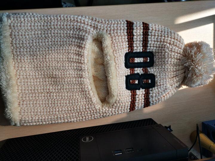 卡兰薇 毛线帽子女冬季韩版加绒加厚骑车防风保暖帽 灰色 晒单图