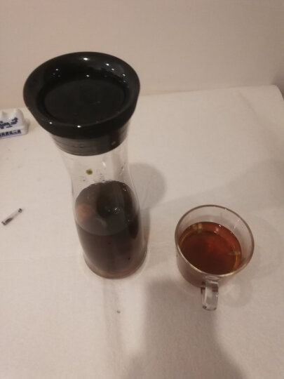 WMF德国福腾宝凉水壶 大容量无铅玻璃夏季冷水壶 玻璃壶冰镇果汁瓶1L-可改链接 墨黑 晒单图