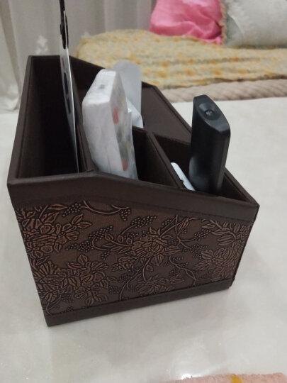 【2件8.8折】皮革多功能纸巾盒 遥控器收纳盒抽纸盒餐巾纸抽盒创意欧式客厅桌面茶几收纳欧式现代简约 升级版-黑色羊皮纹 晒单图