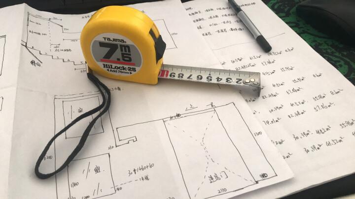 日本tajima田岛卷尺7.5米钢卷尺双面刻度盒尺拉尺木工测量工具尺带宽25mm高精度米尺 L25-75 晒单图