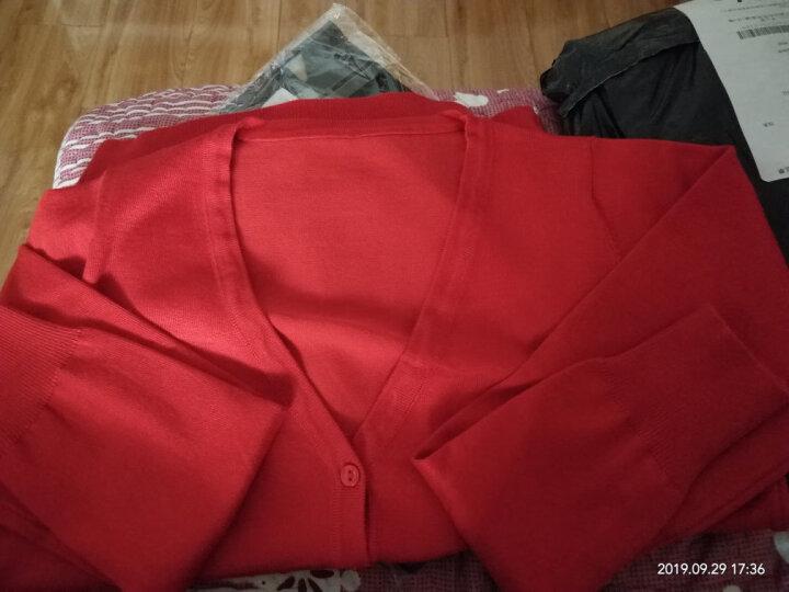 洋稻人针织衫女开衫2020新款V领毛衣百搭春秋短外套 杏色 L(90-110斤) 晒单图