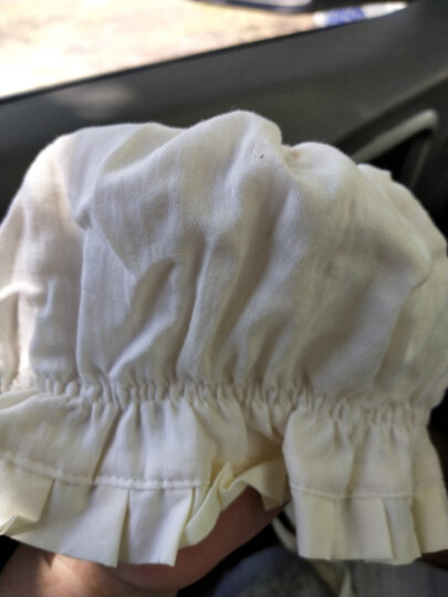 京&东仓直发】Yinbeler宝宝棉质护耳包头帽蕾丝镂空星星新生儿软边公主女婴系带婴儿帽子薄0-1岁 星星白(帽围40cm) 晒单图