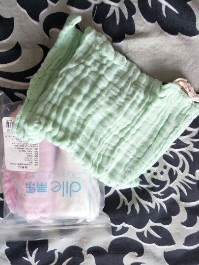 蒂乐 婴儿浴巾纯棉超柔吸水宝宝儿童纱布口水巾洗澡毛巾新生儿全棉盖毯 粉绿白 3条装 晒单图