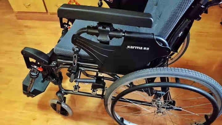 康扬轮椅可平躺全躺半躺轻便老人折叠进口航钛铝合金残疾人高靠背餐桌板手推车瘫痪多功能老年人四轮代步车 KM-5000.2升级版 台湾生产 两段式防潜滑 晒单图