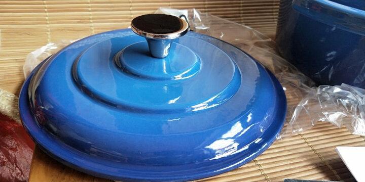 佳佰 珐琅锅铸铁汤锅平底双耳煲汤炖肉22cm(电磁炉煤气灶通用)蓝色 晒单图