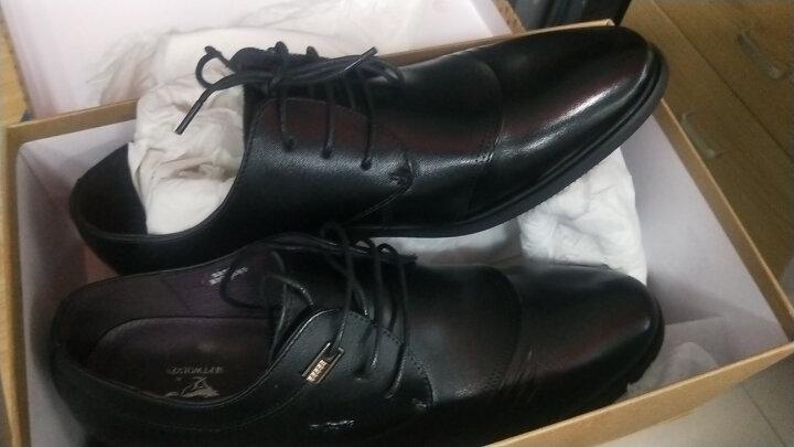 七匹狼(SEPTWOLVES)男鞋商务男士皮鞋系带正装鞋 黑色 40 晒单图