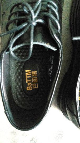 巴图腾皮鞋男正装鞋真皮商务休闲男鞋大码内增高皮鞋小码镂空透气青年新郎婚鞋 镂空经典款-黑色 42(260) 晒单图