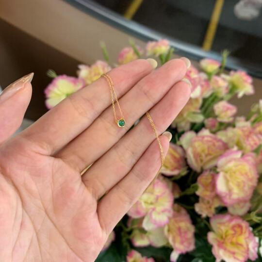 CIRCLE日本珠宝 18K金项链金项链吊坠女锁骨链祖母绿项链吊坠 预售(咨询客服) 晒单图