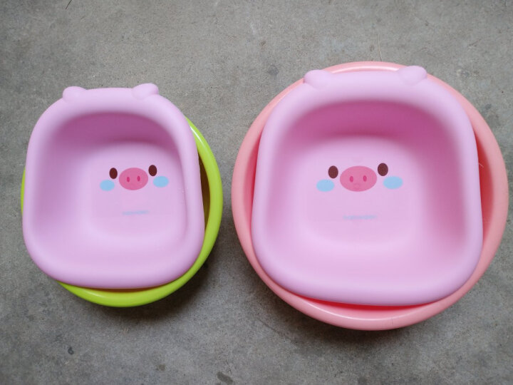 小哈伦 婴儿洗脸盆 婴儿脸盆 宝宝儿童洗脸盆脸盆 新生儿洗脸盆 可爱卡通小猪 绿大粉小 晒单图