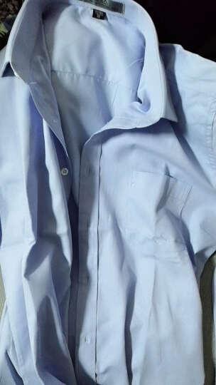 霸王车免烫长袖衬衫男修身纯色斜纹职业青年商务休闲正装男士西服衬衣上衣无口袋 浅蓝色28 40/175 晒单图