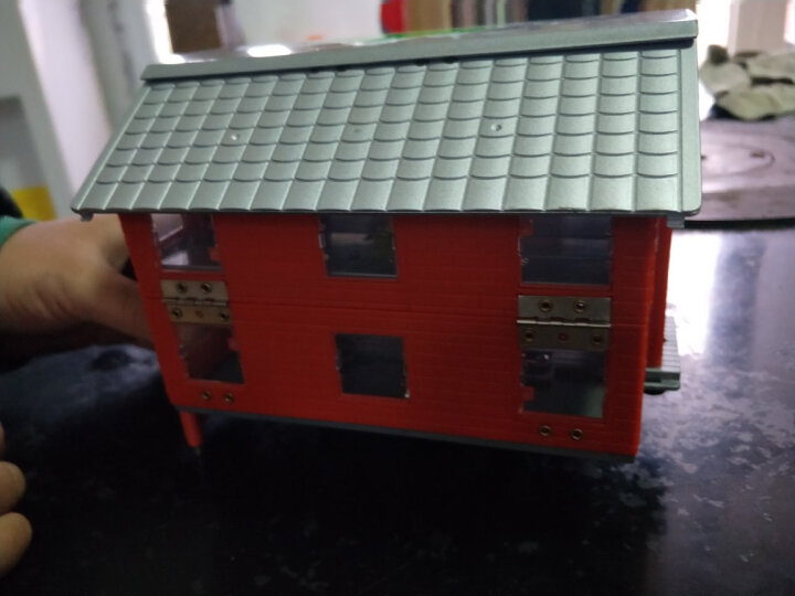 凯迪威 双层房车儿童玩具小汽车合金车模旅行房车变形拖车仿真模型男孩 单层房车-蓝色 晒单图
