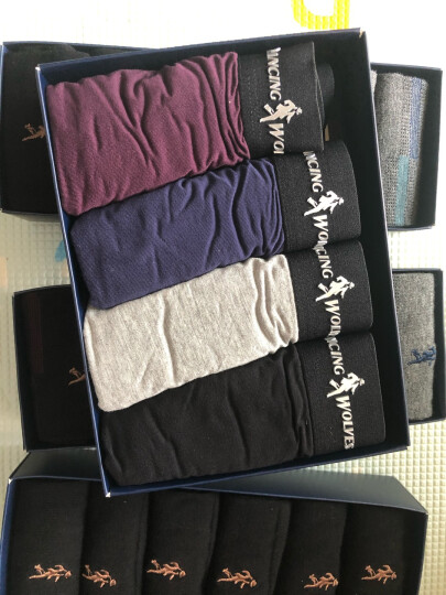 与狼共舞男士内裤 男平角内裤纯色粘纤4条装 3141-4 XL 混色 晒单图