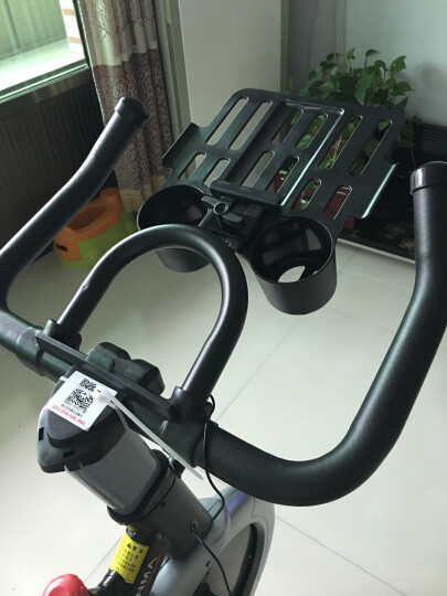 汗马 动感单车家用静音运动减肥器材健身车室内脚踏自行车 智能游戏APP+飞轮全包加纹+液压弹簧减震  白色 晒单图